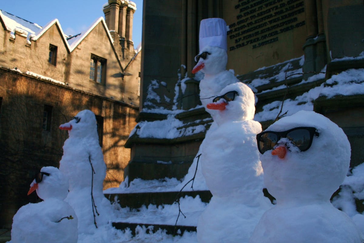 snowmen at the Martyrs Memorial