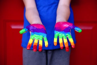 Painted rainbow colours for Pride