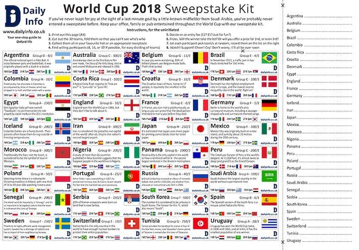 world cup 2018 sweepstake kit